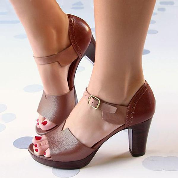 Valuedshoes Chunky Heel Ankle Strap Elegant Shoes Working Daily Shoes