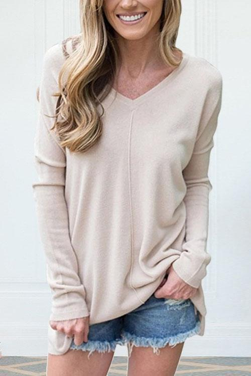 Valuedshoes  V-Neck Long-Sleeved Versatile Bottoming Sweatshirt