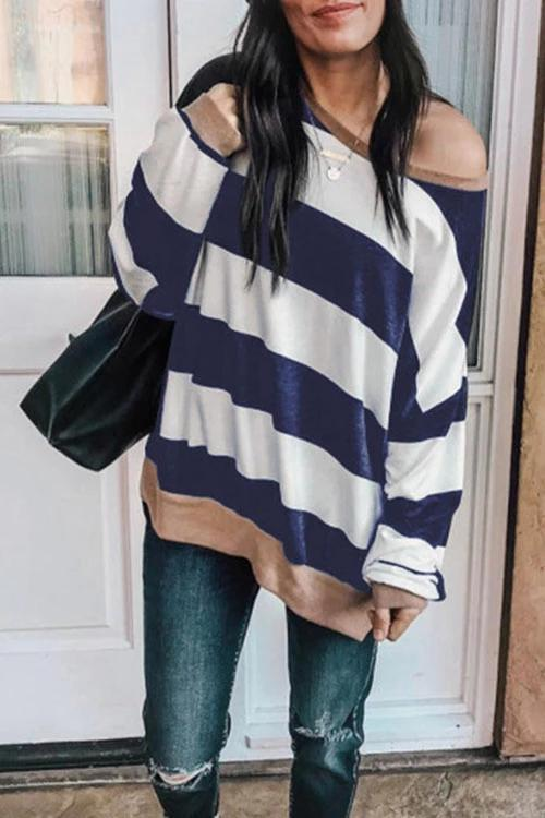 Valuedshoes Loose Striped Long Sleeve Dark Blue Sweatshirt (2 Colors)
