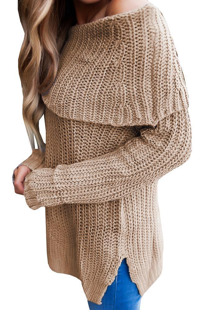Valuedshoes Fashion Long Sleeve off shoulder Solid color Casual Sweater