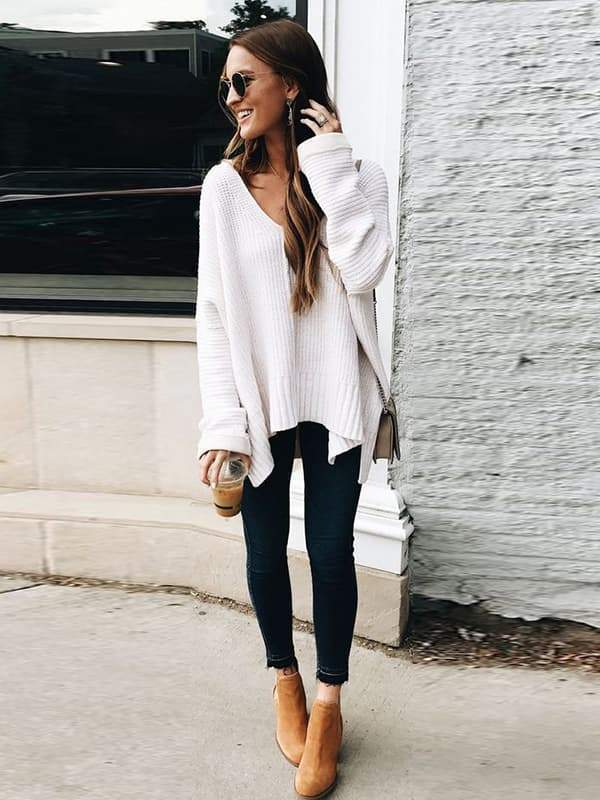 Valuedshoes Casual Deep V Neck Knit Sweater