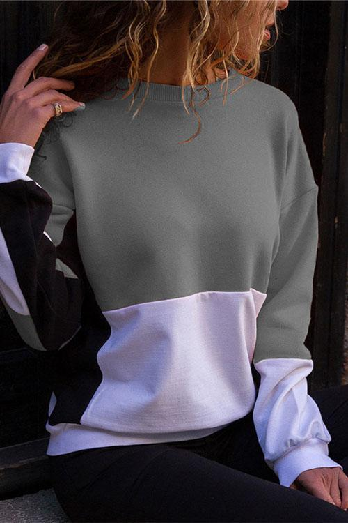 Valuedshoes Casual Round Neck Stitching Long Sleeve Sweatshirt