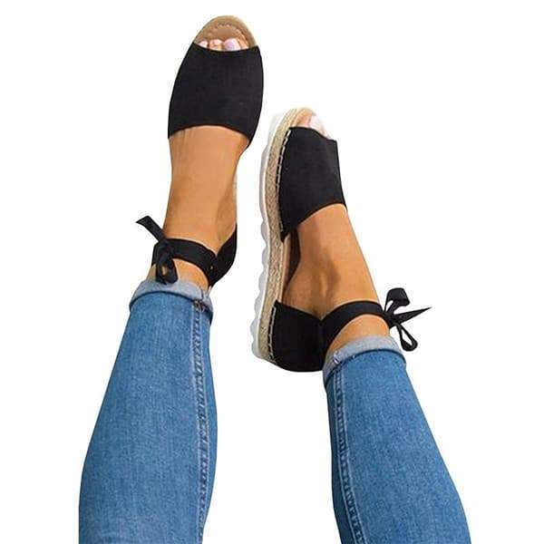 Valuedshoes Peep Toe Lace-up Espadrilles Flats