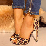 Valuedshoes Leopard Suede Thin Heeled Heels