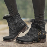 Valuedshoes Women Casual Chunky Heel Pu Zipper Ankle Boots