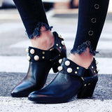 Valuedshoes Pearl Pointed Toe Ankle Boties Slip-On Women Boots