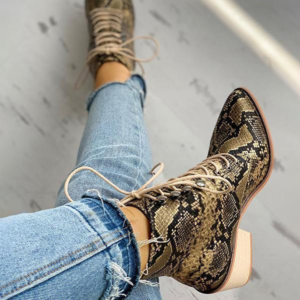Valuedshoes Pointed Toe Lace-up Snakeskin Chunky Heeled Boots