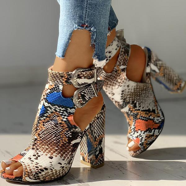 Valuedshoes Snakeskin Ankle Buckled Chunky Heels