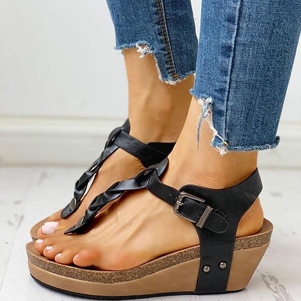 Valuedshoes Rivet Design Toe Post Wedge Sandals