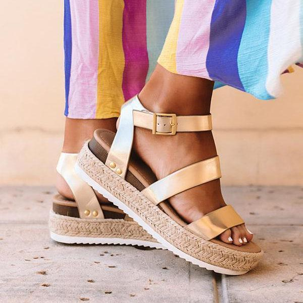 Valuedshoes Aummer Espadrille Buckled Ankle Straps Sandals