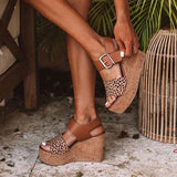 Valuedshoes Reece Cheetah Wedge Buckle Straps Sandals