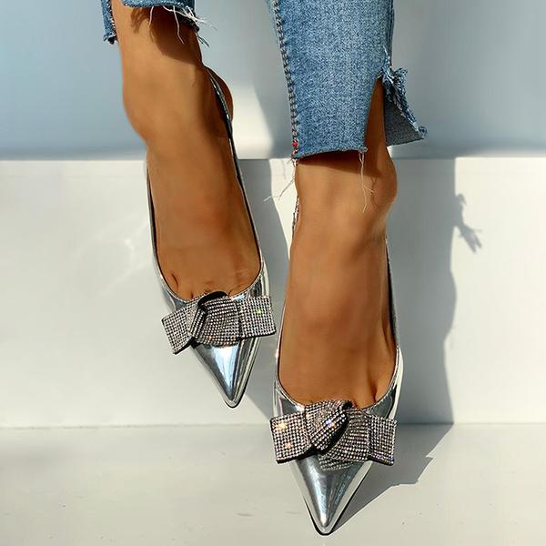 Valuedshoes Pointed Toe Studded Bowknot Slingback Thin Heels