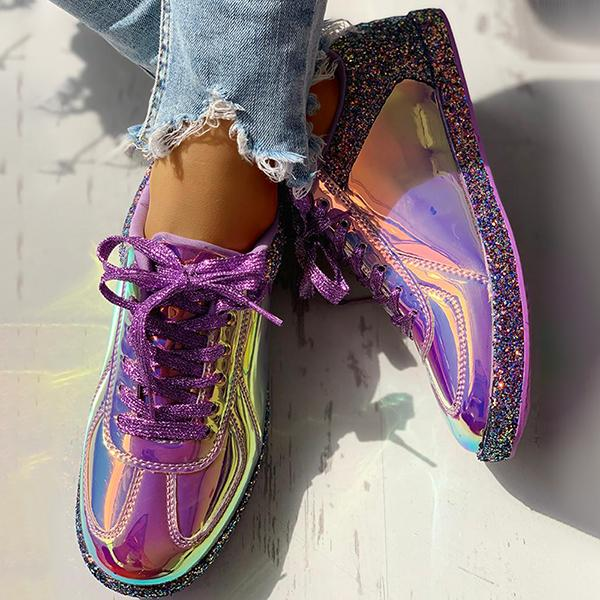 Valuedshoes Fashion Glitter Colorblock Lace-up Sneakers
