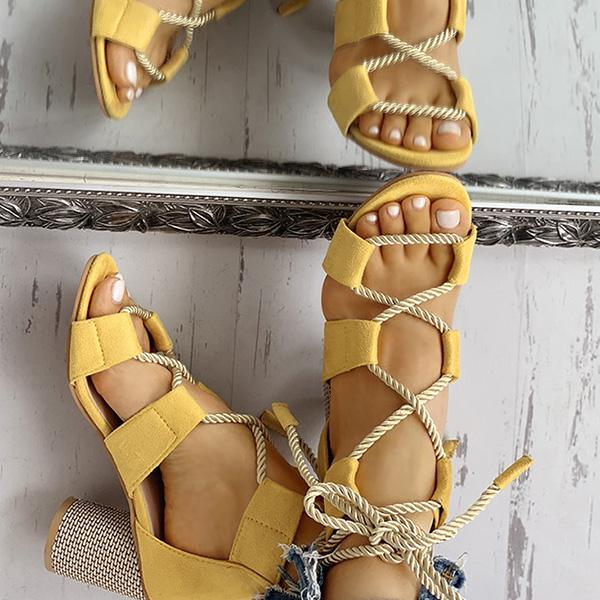 Valuedshoes Colourblock Lace-up Chunky Heels Open Toe Sandals