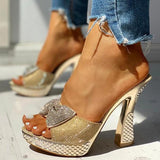 Valuedshoes Women Fashion Paillette Rhinestone Slip-on Sandals