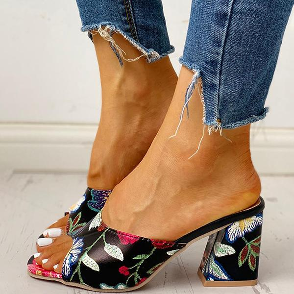 Valuedshoes Peep Toe Print Chunky Heeled Sandals