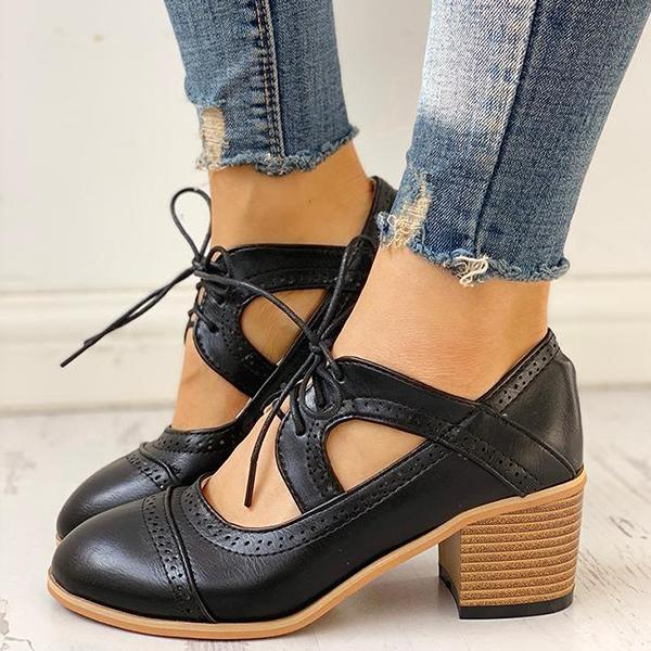 Valuedshoes Lace-Up Cut Out Chunky Heels