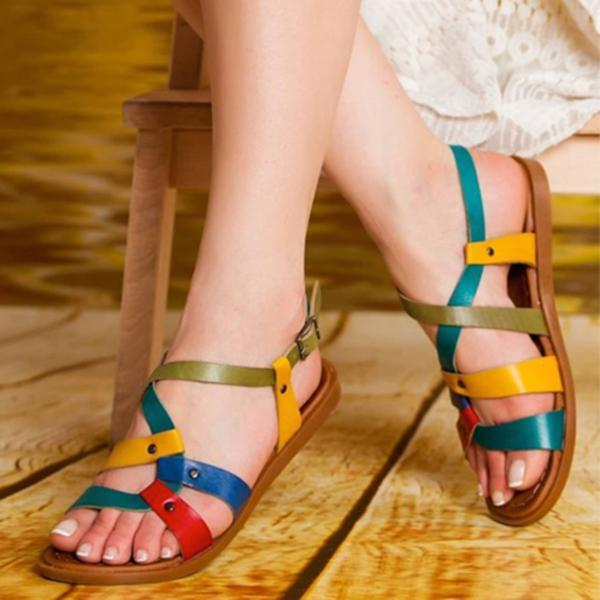 Valuedshoes Color Leather Daily Summer Sandals