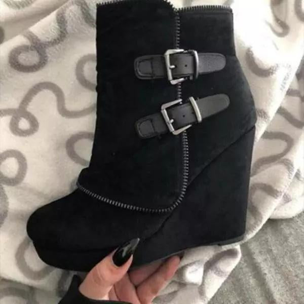 Valuedshoes Women Ankle Zipper Buckle Platform Boots