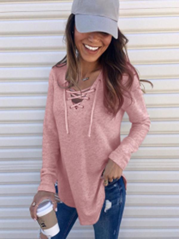 Valuedshoes Lace Up Long Sleeve Sweater