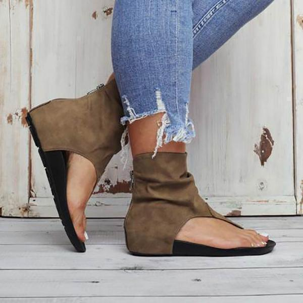 Valuedshoes Hollow out Back Zipper Flat Booties