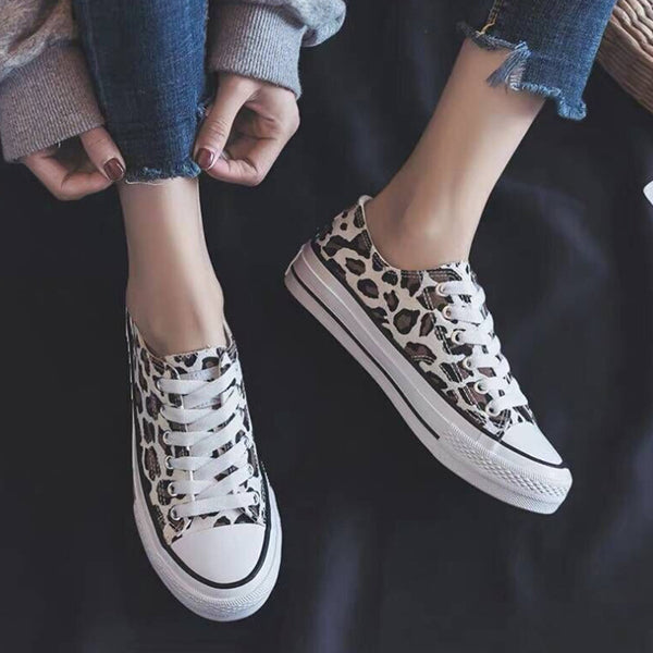 Valuedshoes Leopard Printed Lace-Up Sneakers