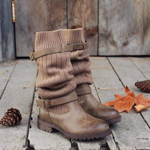 Valuedshoes Cabin Sweater Paneled Boots