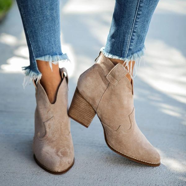 Valuedshoes World Awaits Faux Suede Heeled Boots