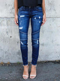 Valuedshoes Slim-fit Hole-breaking Jeans