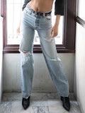 Valuedshoes Loose Straight High-waist Denim Jeans