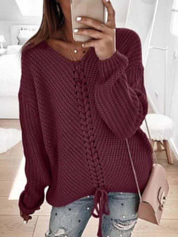 Valuedshoes Loose Long Sleeve Stitching Pullover Sweater