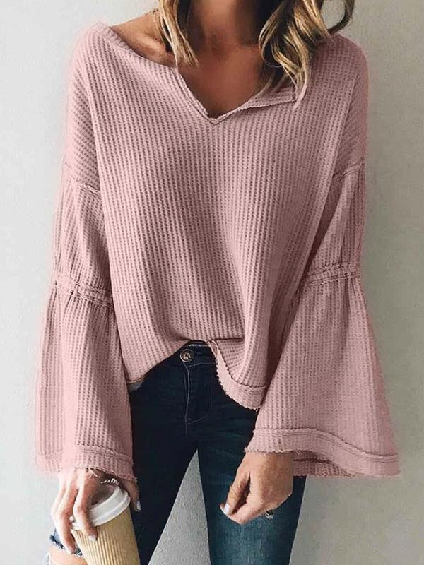 Valuedshoes Solid Bell Long Sleeve Casual Sweater