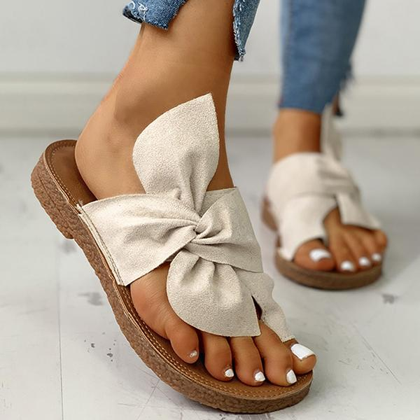 Valuedshoes Bowknot Toe Ring Non-slip Slippers