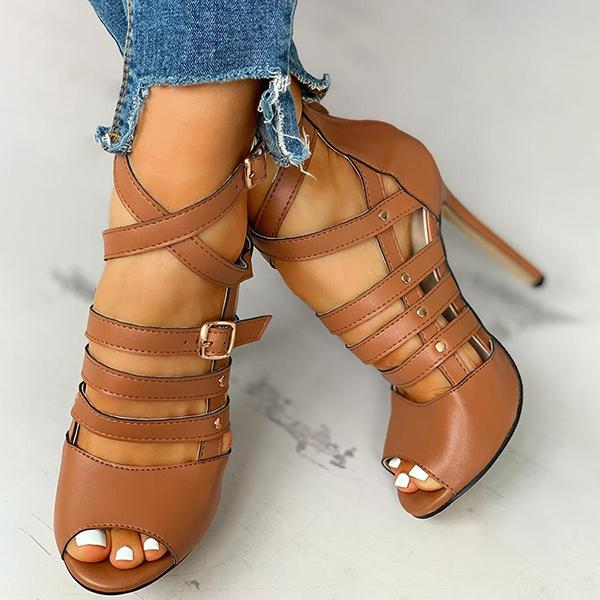 Valuedshoes Solid Hollow Out Ankle Strap Thin Heeled Sandals