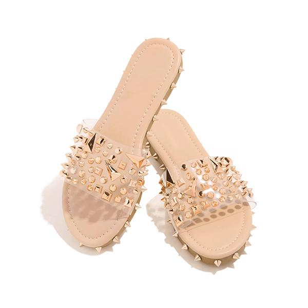 Valuedshoes Multi-Sized Studs Clear Strap Slippers