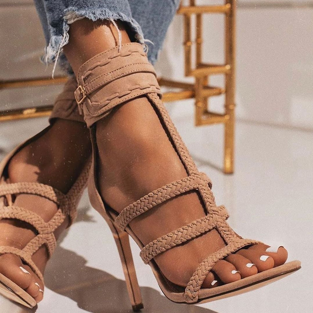 Valuedshoes Almond Toe Adjustable Button Hemp Rope High Heeled Sandals