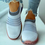 Valuedshoes Colored Bottom Striped Breathable Casual Sneakers