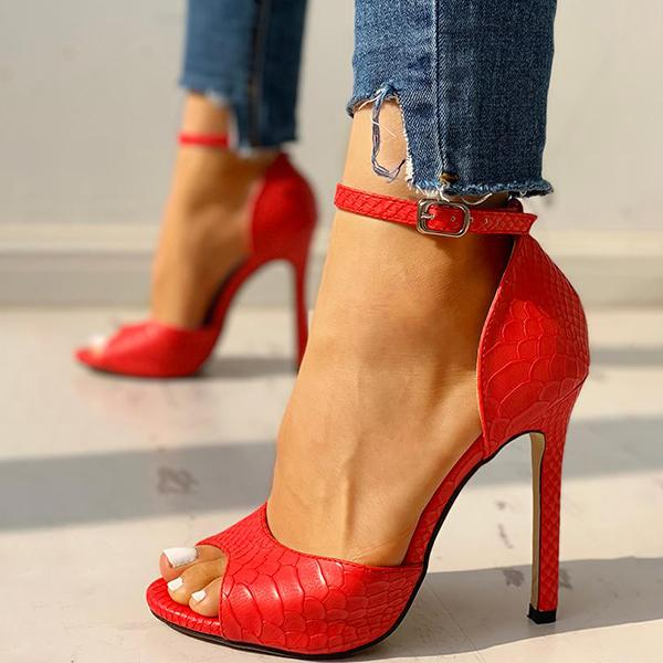Valuedshoes Party Peep-Toe Ankle Strap Thin Heels