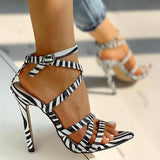 Valuedshoes Multi-Strap Crisscross Thin Heels