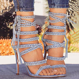 Valuedshoes Glittering Bandage Lace-up Thin Heels
