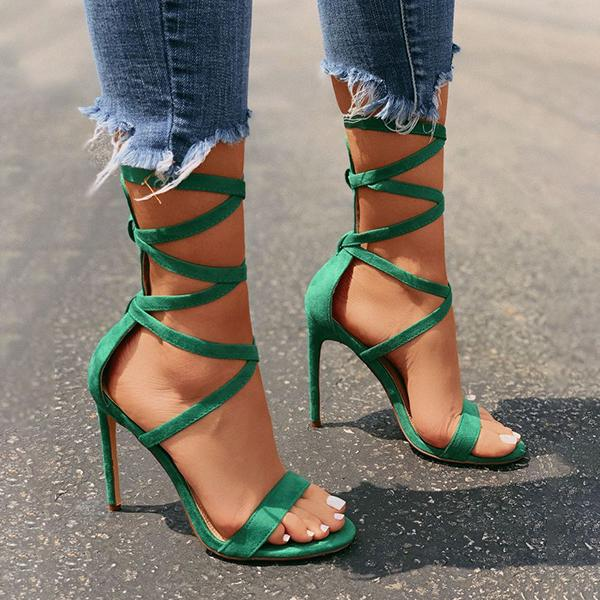 Valuedshoes Lace-Up Closure Single Sole Heels