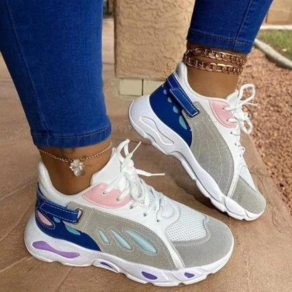 Valuedshoes Women Comfy Lace-Up Block Sneakers