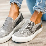 Valuedshoes Pieced Raw Edge Animal Print Canvas Slip-On Flats