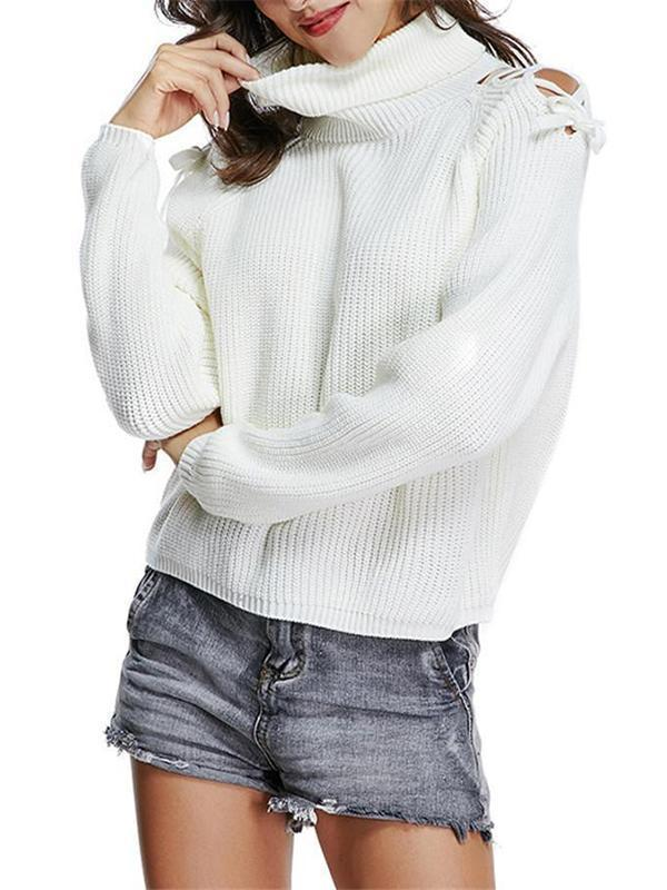 Valuedshoes Tie Shoulder White Sweater