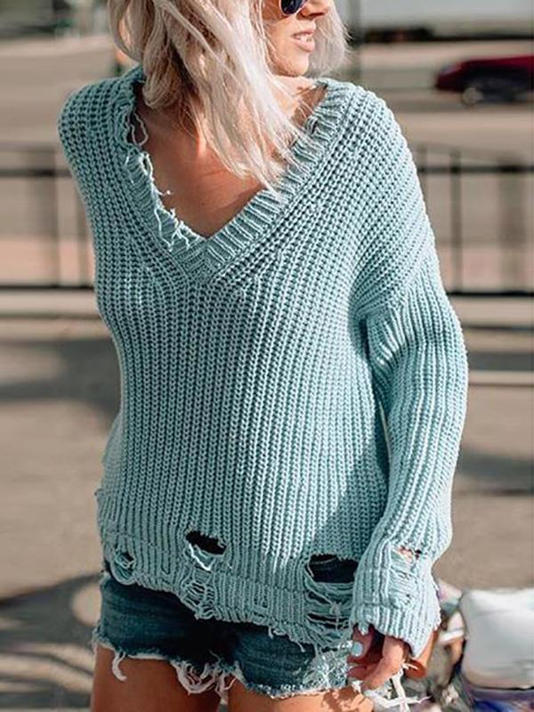 Valuedshoes Sexy V-Neck Solid Sweater