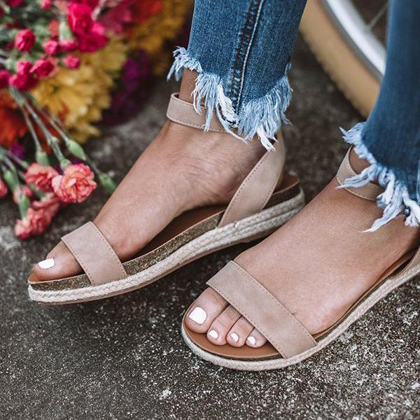 Valuedshoes Ankle Strap Buckle Flatform Sandals