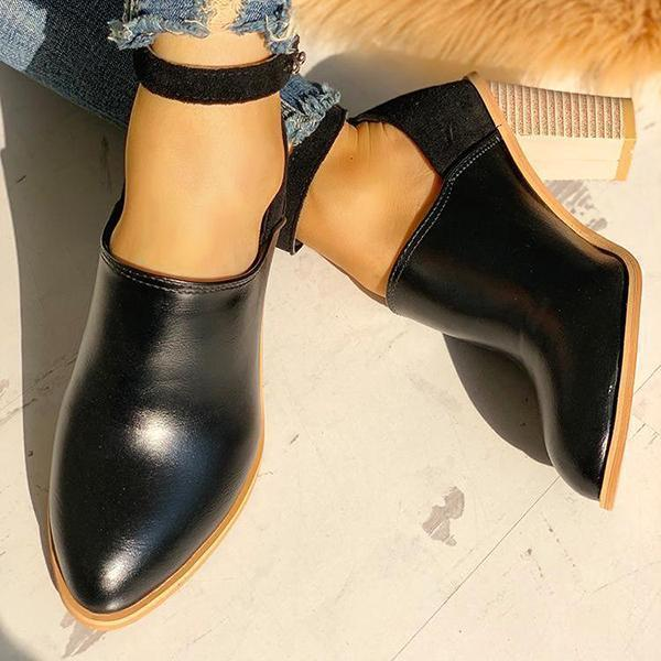 Valuedshoes Ankle Strap Chunky Heels Boots