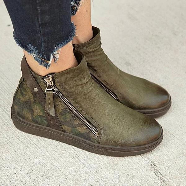 Valuedshoes Women Large Size Boots Ankle Zipper Martin Boots