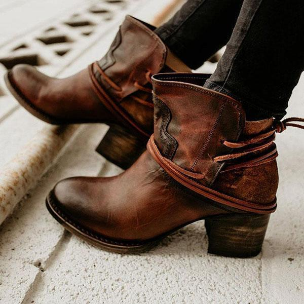 Valuedshoes Vintage Low Heel Ankle Casual Back-lace Boots