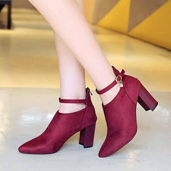 Valuedshoes Plain Chunky High Heeled Velvet Point Toe Date Short Boots